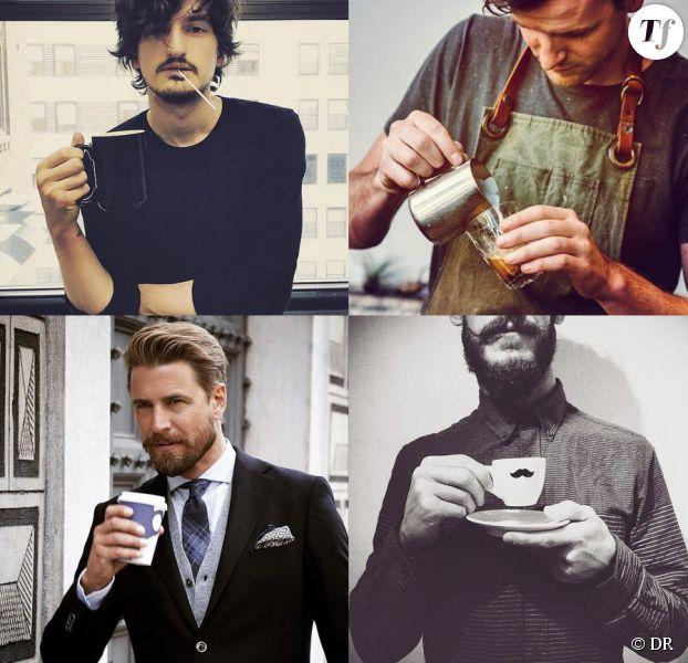 Photos d'hommes fans de café piochées sur le compte Instagram Men and Coffee