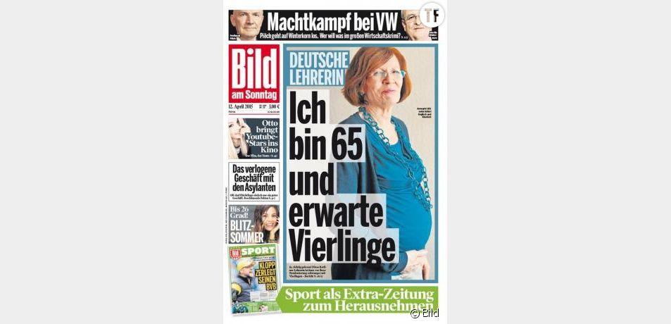 """Annegret Raunigk en couverture de """"Bild"""" le 12 avril 2015"""