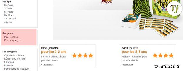 """La distinction """"Pour les garçons"""" / """"Pour les filles"""" est toujours présente sur le site d'Amazon au 11 mai 2015."""