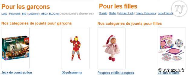 """Les catégories affichées sur le site dans la rubrique """"Jeux et jouets""""."""