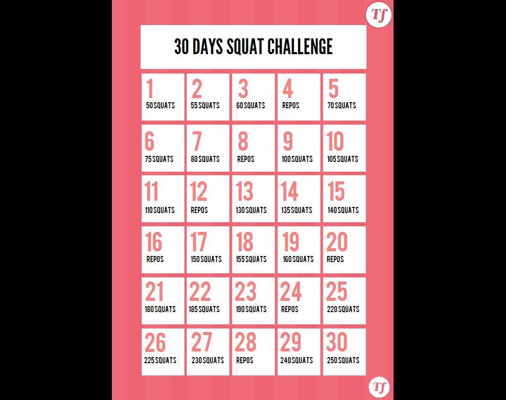 30 Days Squat Challenge : le calendrier