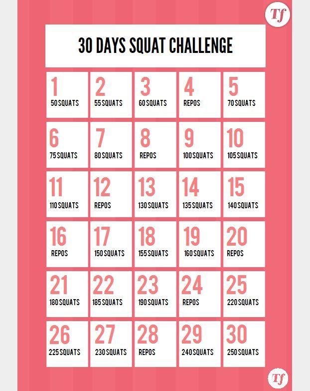 30 Days Squat Challenge : le calendrier à imprimer