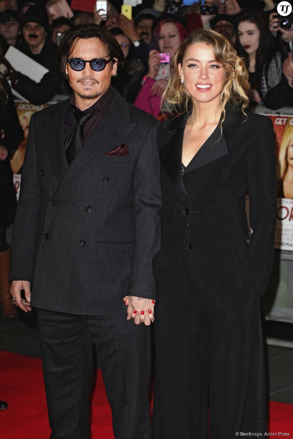 Johnny Depp et sa femme Amber Heard en janvier 2015