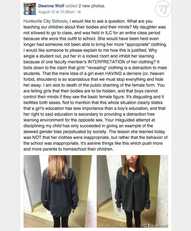 A cause de cette tenue pourtant très couvrante, la fille de Deanna Wolf a été sommée de se changer pour assister à ses cours.