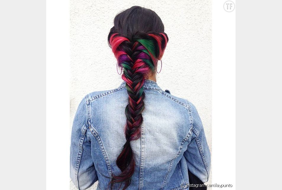 Le secret rainbow hair version tresse en épi