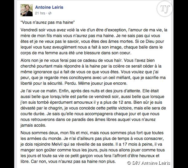 Le message d'Antoine Leiris sur Facebook