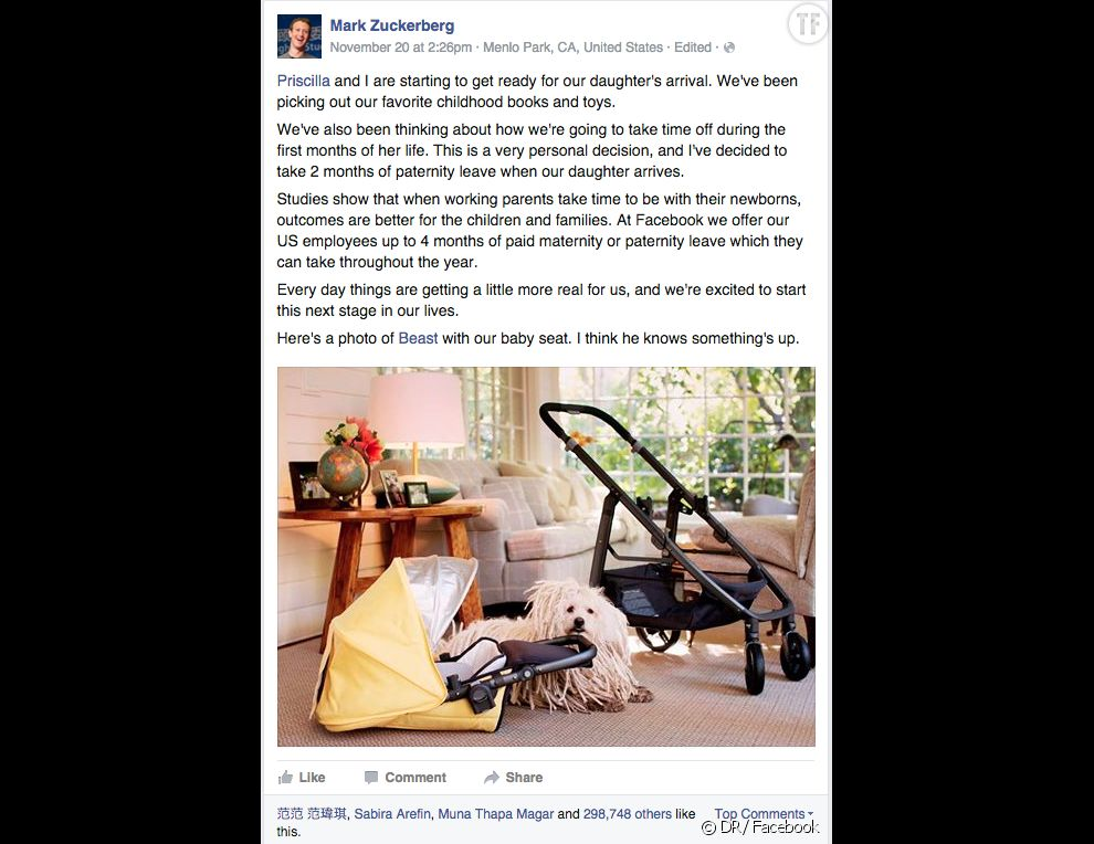 Le message de Mark Zuckerberg posté vendredi