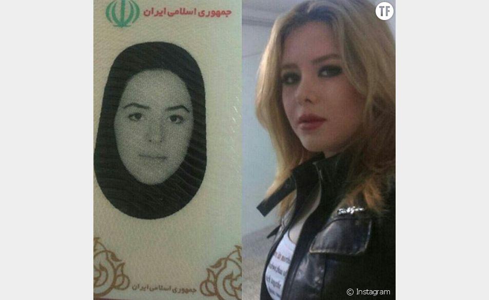 """La différence entre la photo d'identité et le visage """"réel"""" des iraniens mise en évidence sur Instagram."""