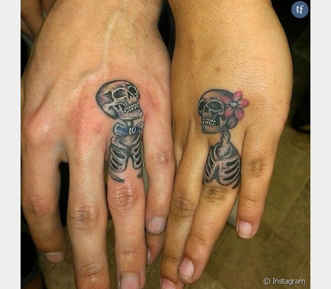Tatouage Alliance Couple De Squelettes