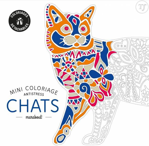 "Mini-coloriages anti-stress ""Chats"", 5,90 euros chez Marabout"