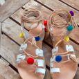 Sandales blanches à pompons Etsy 72,90 euros