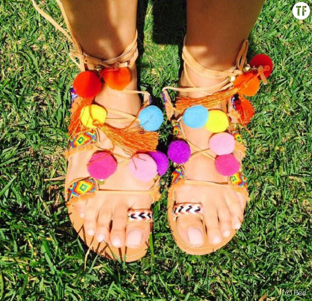 15 sandales pompons pour un t hippie chic terrafemina. Black Bedroom Furniture Sets. Home Design Ideas