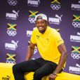 Usain Bolt lors d'une conférence de presse pendant les Jeux Olympiques (JO) de Rio 2016, à Rio de Janeiro, le 8 août 2016