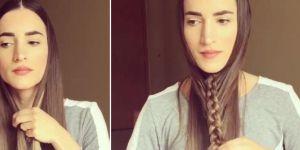 Elle tresse ses cheveux sous son menton et retourne ses cheveux : le résultat est bluffant