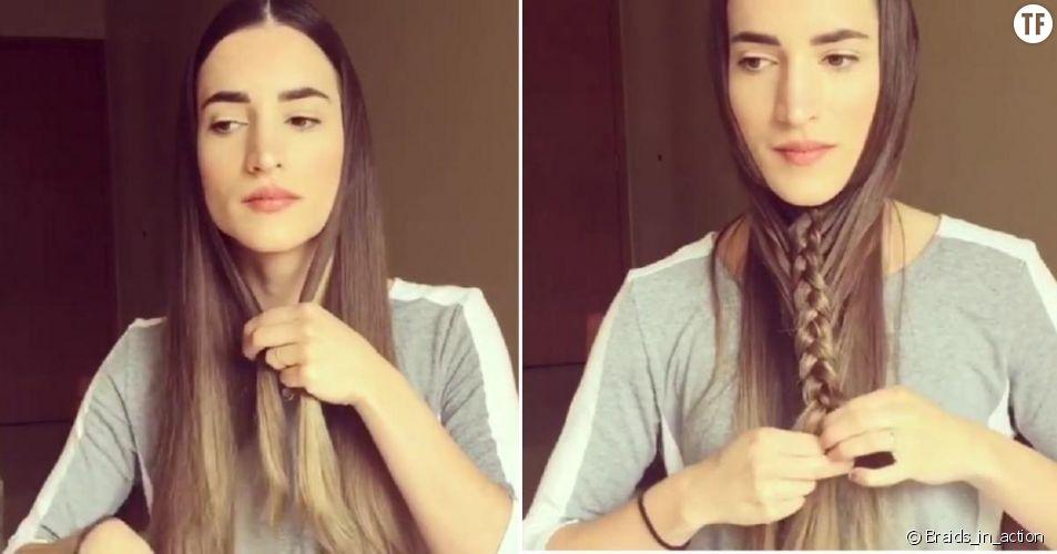 Elle tresse ses cheveux sous son menton : le tuto tresse étonnant