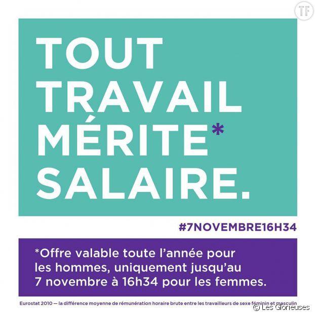 A partir du 7 novembre à 16h34, les Françaises travailleront bénévolement pour compenser l'écart de salaire avec les hommes