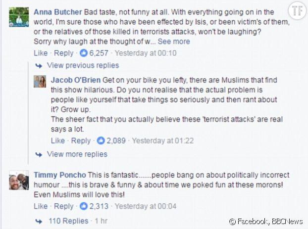 Diverses réactions de commentateurs sur le Facebook de la BBC