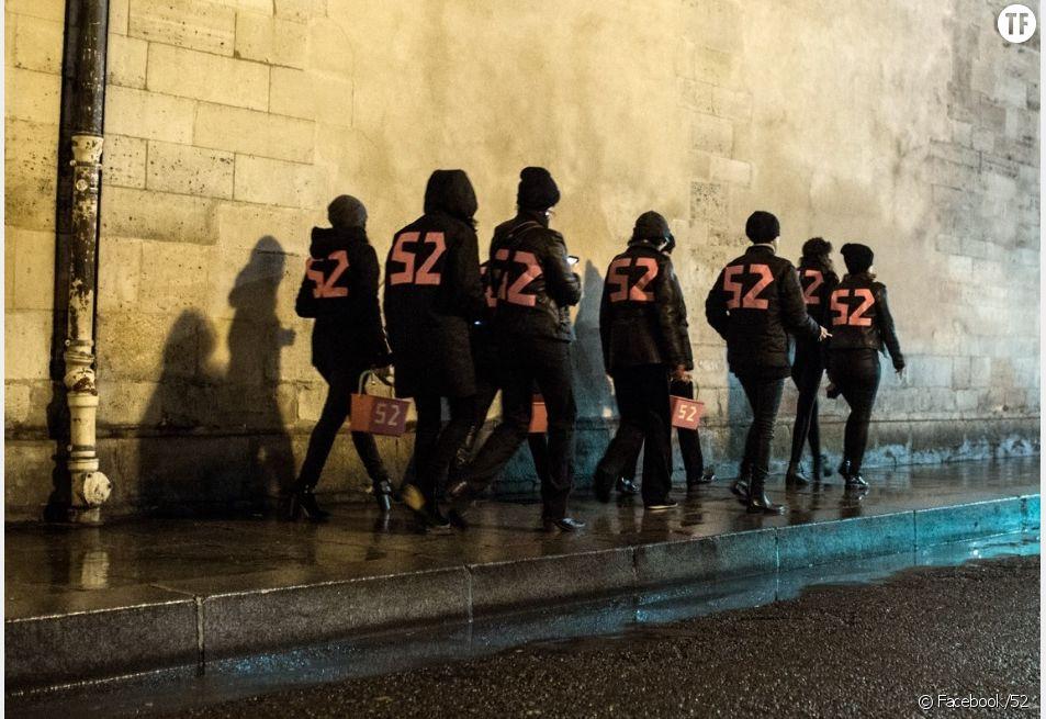 Le collectif féministe 52 en action dans les rues de Paris