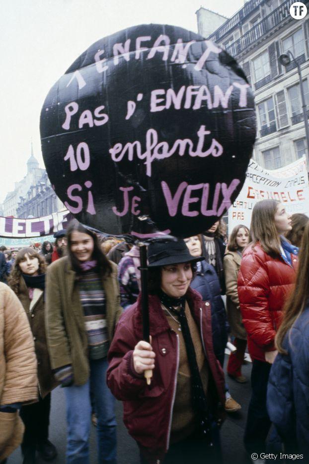 Manifestation défendant le droit à l'avortement le 28 novembre 1975