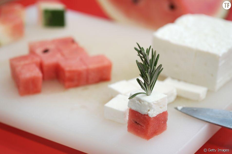 La recette des brochettes à la pastèque et à la feta