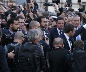 Emmanuel Macron et Alexandre Benalla lors d'un meeting le 1er avril 2017