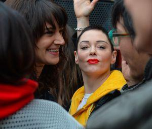 Rose McGowan et Asia Argento a un rassemblement à Rome le 8 mars 2018