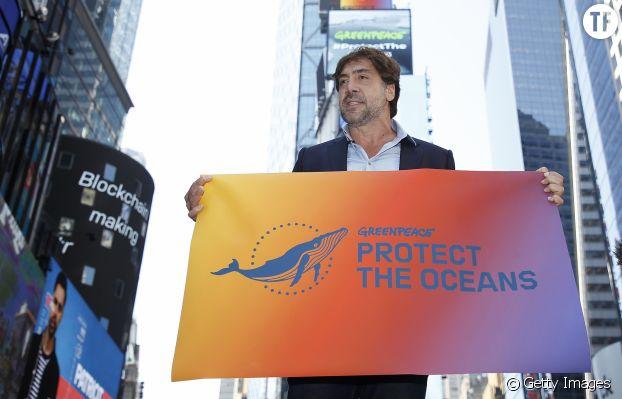 Javier Bardem à Time Square, avant son discours devant l'ONU.