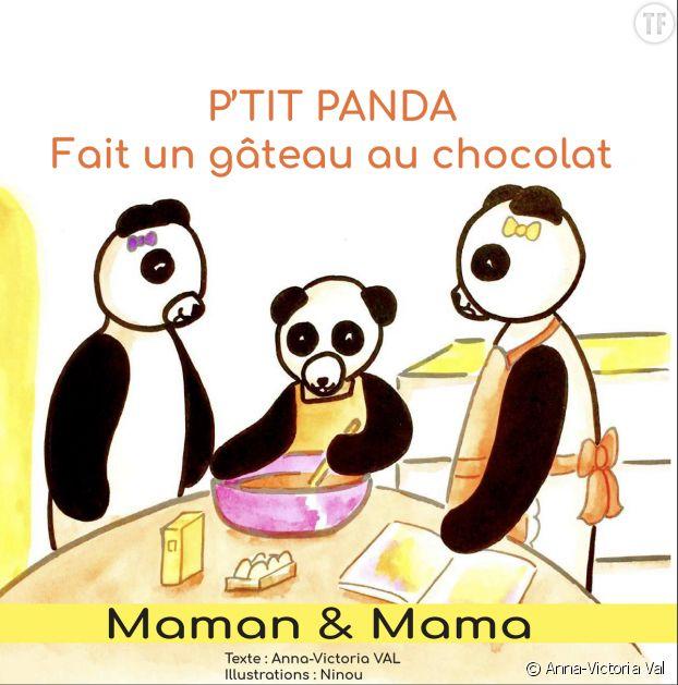 """""""P'tit panda fait un gâteau au chocolat""""."""