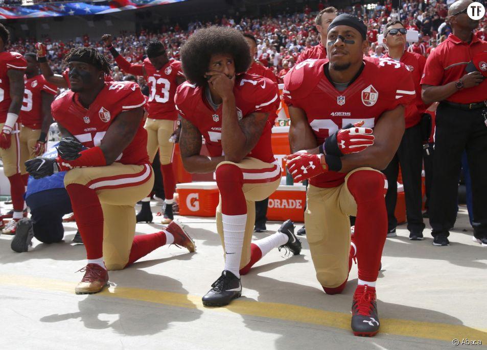 En 2016, le happening de Colin Kaepernick contre les violences policières.