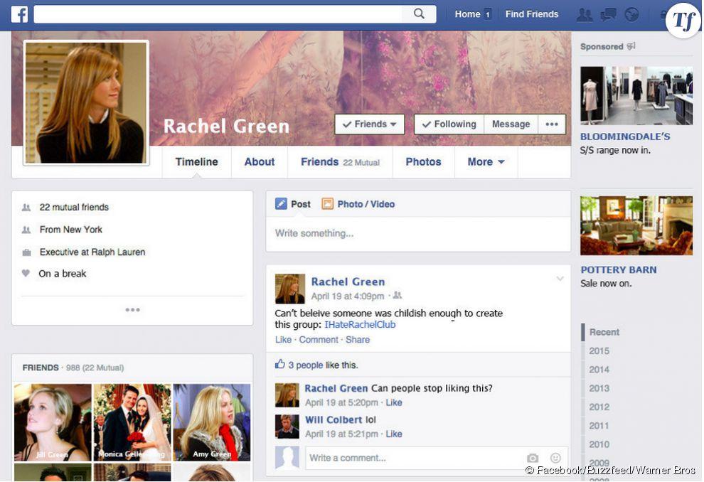 Le profil Facebook de Rachel - errance sentimentale - Green.