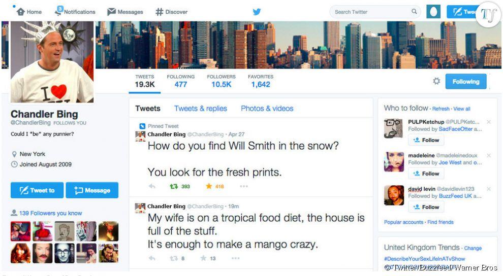 Chandler Bing teste ses vannes sur Twitter.