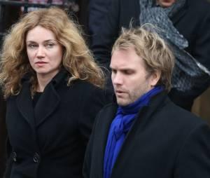 Marine Delterme et son mari Florian Zeller - Sorties de la cérémonie religieuse à la mémoire de Jacques Chancel, en l'église Saint-Germain-des-Prés, à Paris, le 6 janvier 2015.
