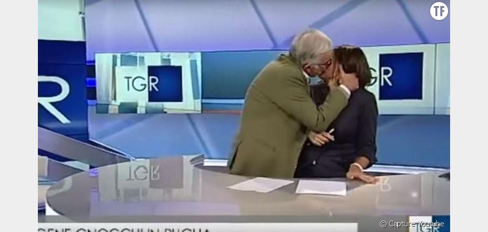Gene Gnocchi embrasse en direct et de force une présentatrice.