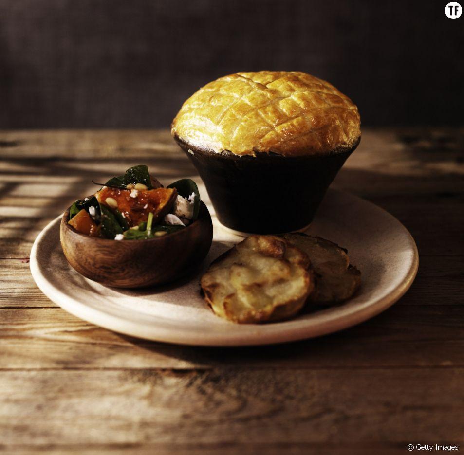 Tourte au potimarron, butternut, patate douce et cheddar