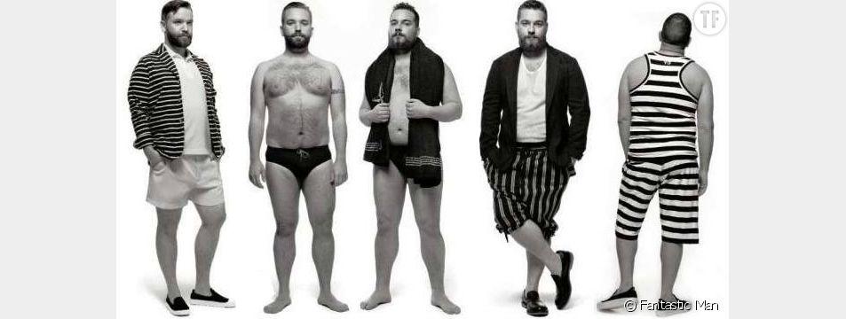 """Des mannequins hommes """"plus size"""" posent pour le journal """"Fantastic Man"""" en mars 2010. Une grande première !"""