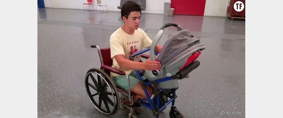Le jeune Alden Kain a mis au point un incroyable fauteuil roulant, adapté aux parents handicapés !