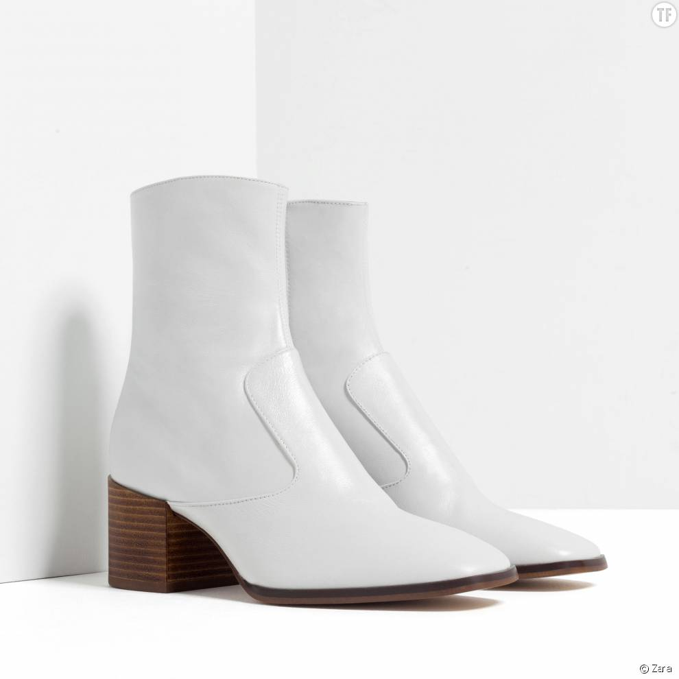 chaussures boots blanches bottines boots cuir blanc chaussures femme t 37 ne. Black Bedroom Furniture Sets. Home Design Ideas