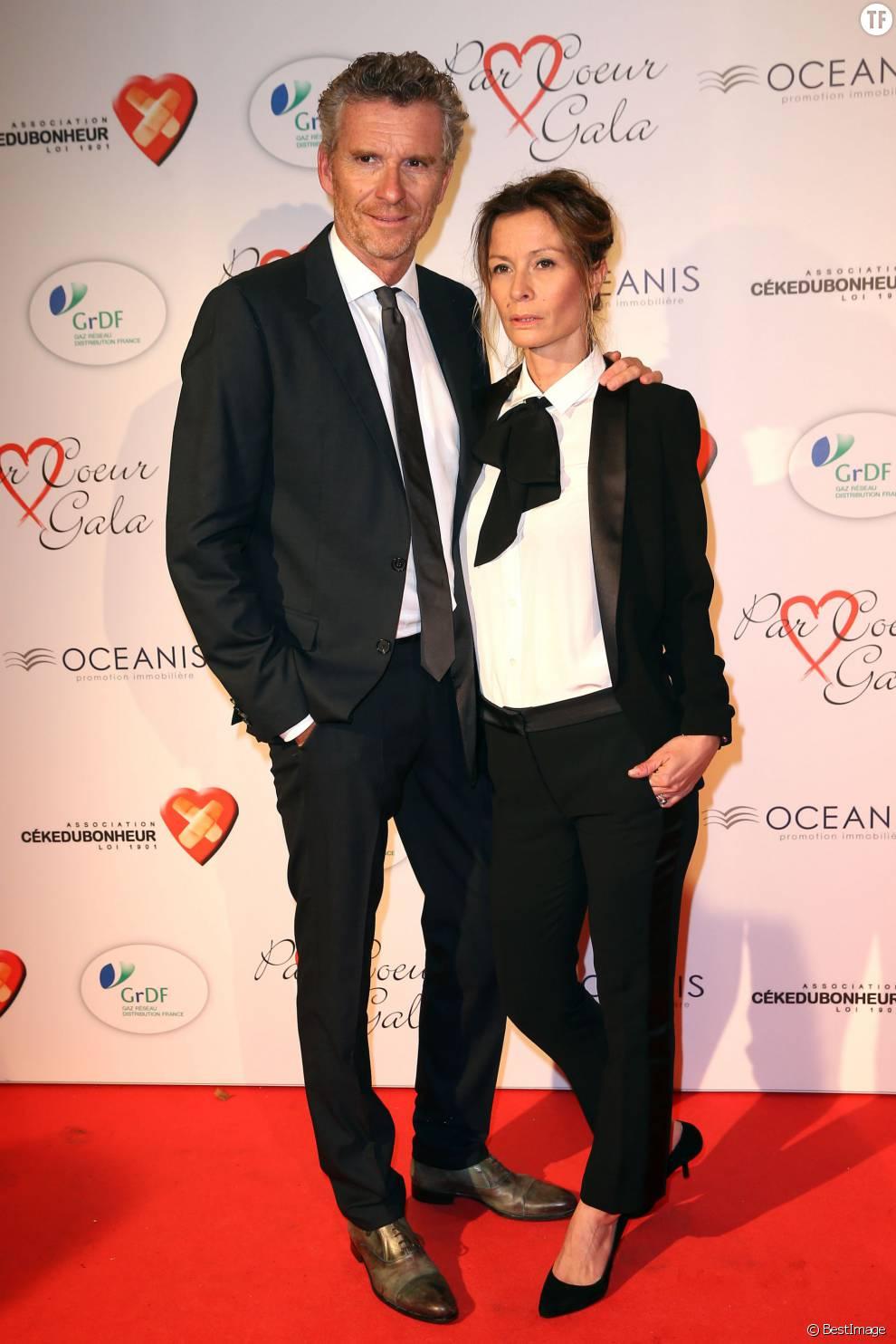 """Denis Brogniart et sa femme Hortense - Personnalités au gala """"Par Coeur"""" pour les 10 ans de l'association """"Cekedubonheur"""" au pavillon d'Armenonville à Paris. Le 24 septembre 2015"""