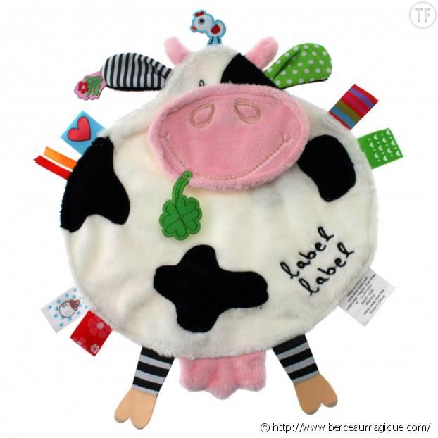 Doudou vache et étiquettes