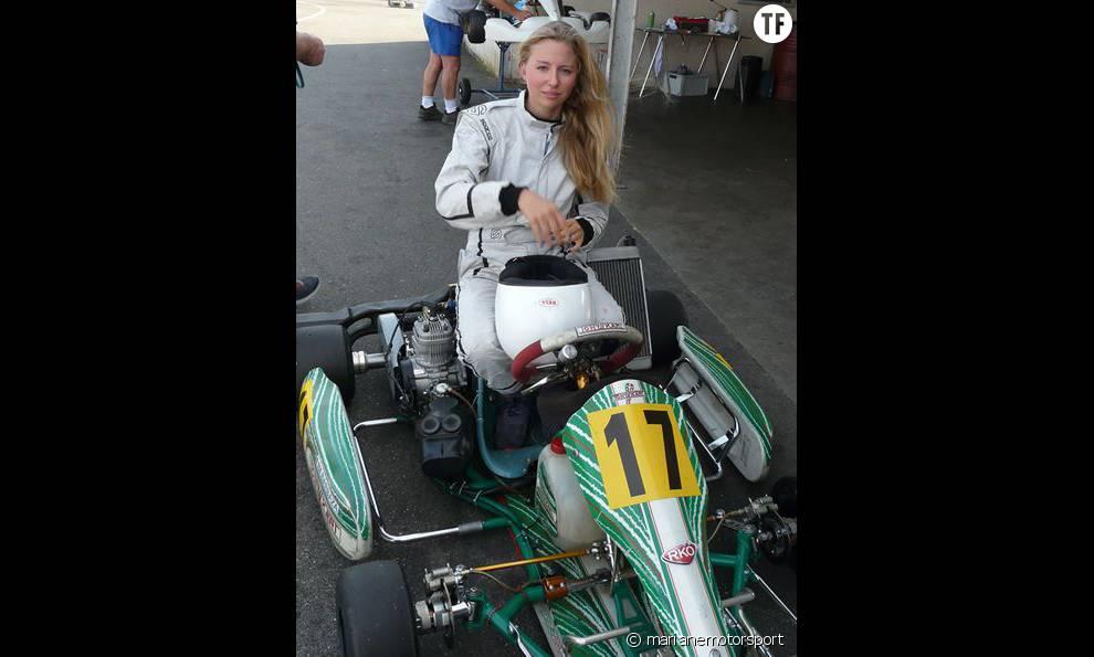 Mariane Barbaza pendant un entraînement de karting