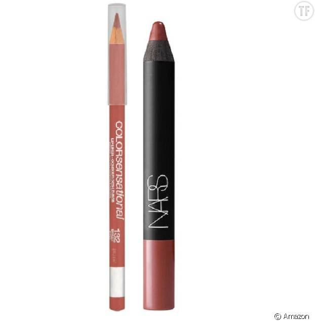 Le crayon Color Sensational de Gemey-Maybelline et Le Velvet Matte Lip Pencil de Nars