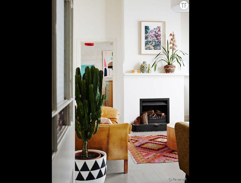 Idée déco n°12 : un cactus dans un gros pot graphique