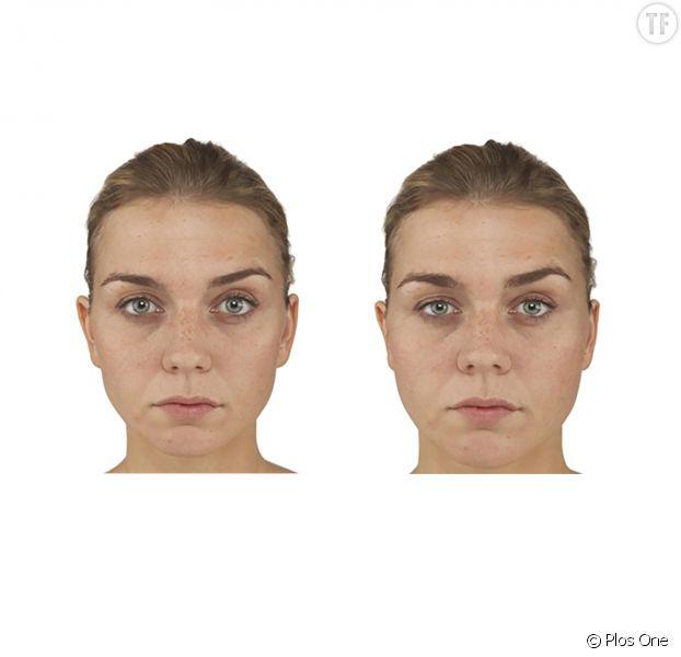A gauche, une femme très mince, à droite, la même avec quelques kilos en plus.