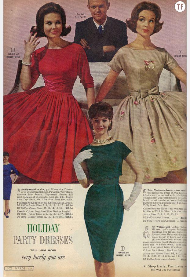 Publicité pour une robe de Noël dans les années 50