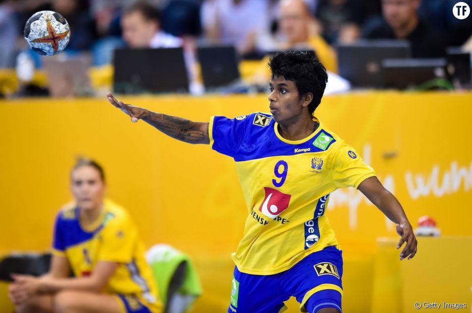 Loui Sand au Championnat du monde de handball féminin de l'IHF entre la Norvège et la Suède, 08 décembre 2017.