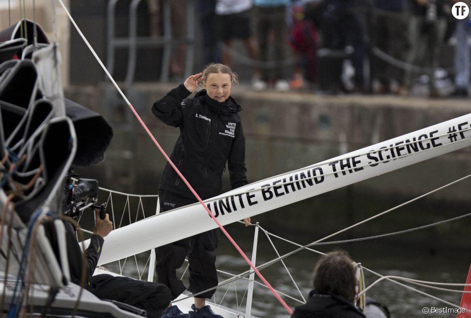 Greta Thunberg arrive à New York le 28 août 2019 à bord d'un voilier de course zéro émission carbone