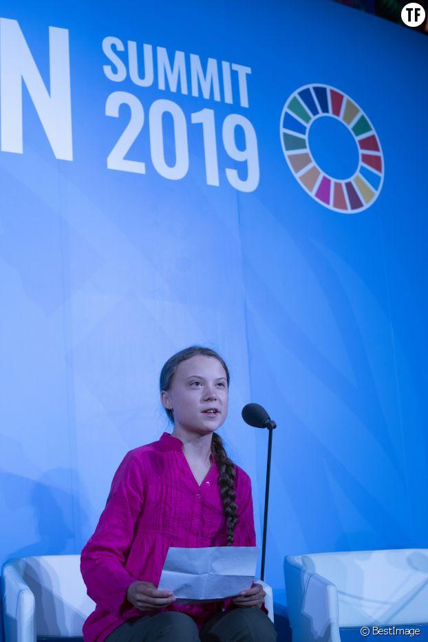 Greta Thunberg au sommet sur le rechauffement climatique à l'ONU, le 23 septembre 2019.