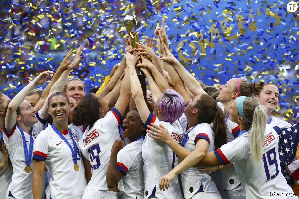 L'équipe américaine de foot lors de la finale de la coupe du monde féminine le 7 juillet 2019.