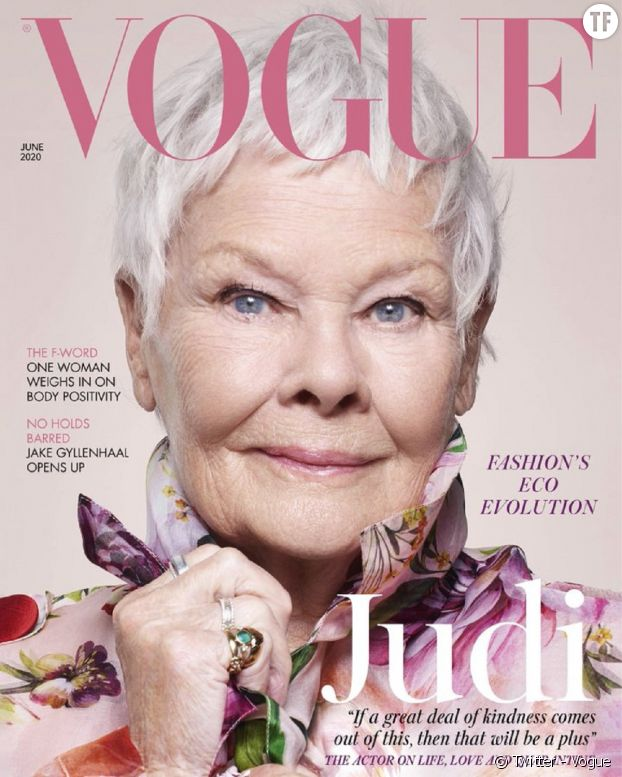 "Judi Dench, flamboyante icône british en Une de ""Vogue""."