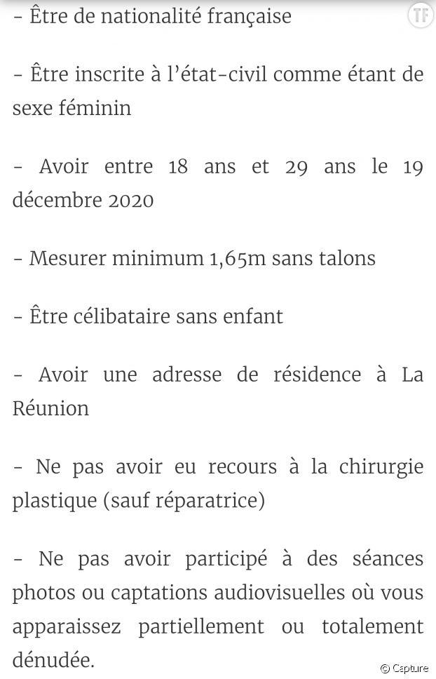 Critères d'inscription au concours Miss écologie Réunion